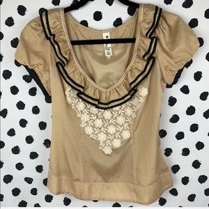 Anthro Sandstone lace and ruffle top